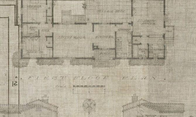 Blueprint Parchment Level Digital Wallcoverings