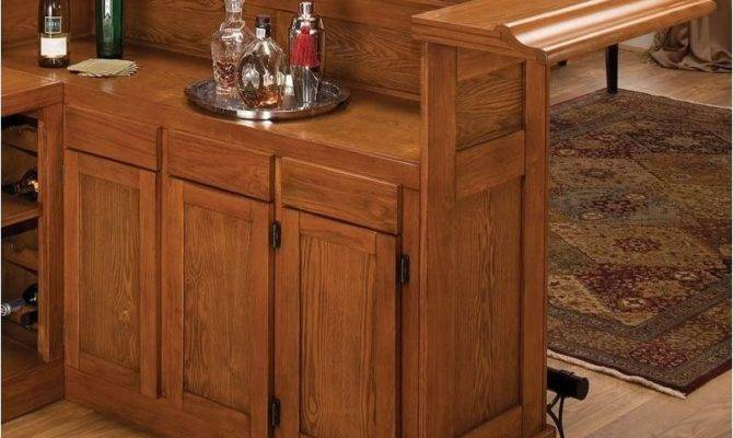 Bowery Hill Large Oak Wrap Around Home Bar