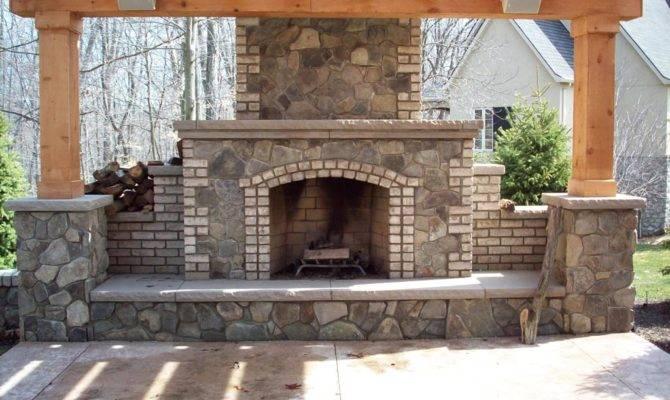 Brick Outdoor Fireplace Plans Designs