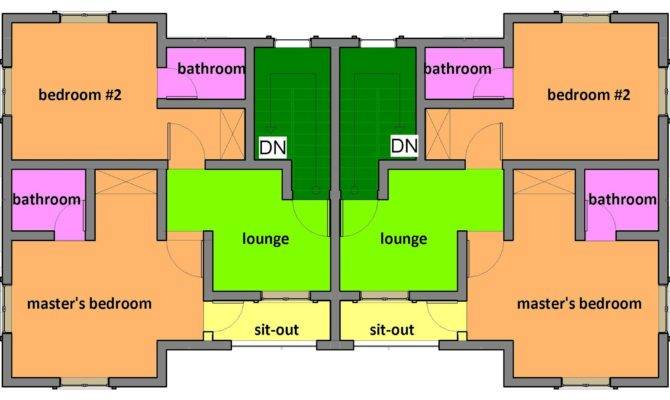 Building Designs Two Bedroom Semi Detached One Storey Apartments