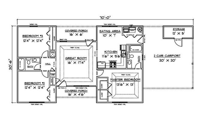 Bungalow House Plans Bedrooms Garage Style