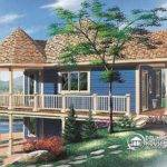 Cabin House Plan Open Floor Large Covered Deck Walkout Basement