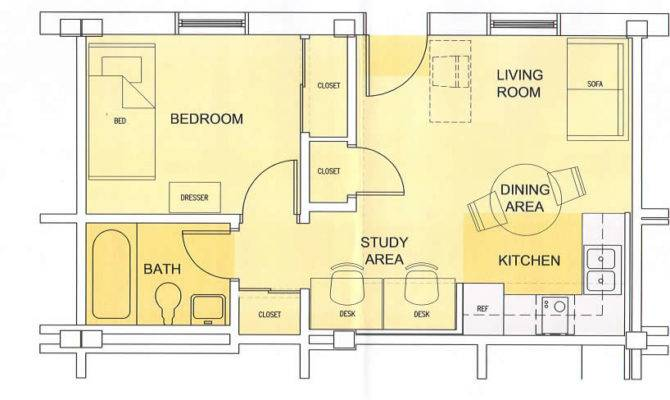 Campbell Apartments One Bedroom Floor Plan