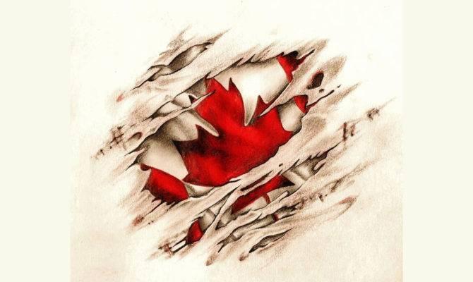 Canadian Scratched Vintage Flag Tattoo