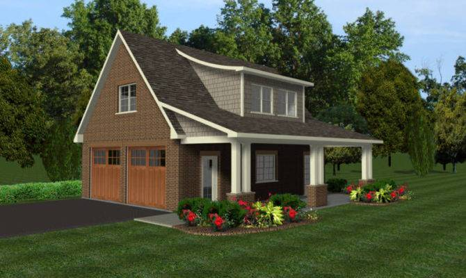 Car Garage Plans Office Loft Covered Porch