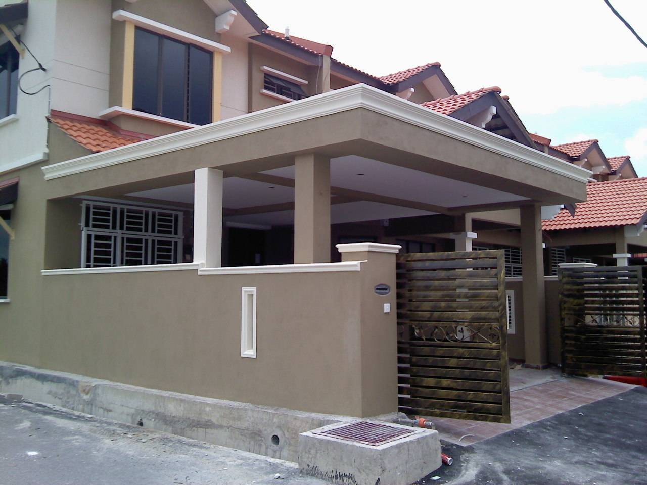 Car Porch Extension Fencing Wall Auto Gate Floor Tiles Home