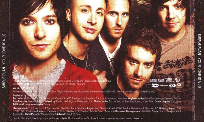 Car Tula Trasera Simple Plan Your Love Lie