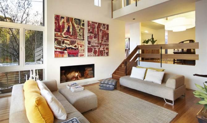 Chesterfield Ave Malvern Yellow Cushions Split Level Living Room