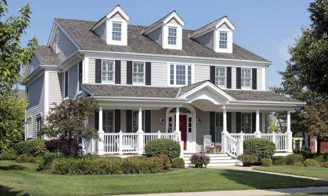 Classic American Style House Beautiful Front Deck