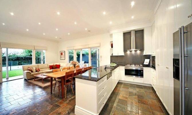 Classic Open Plan Kitchen Design Using Slate