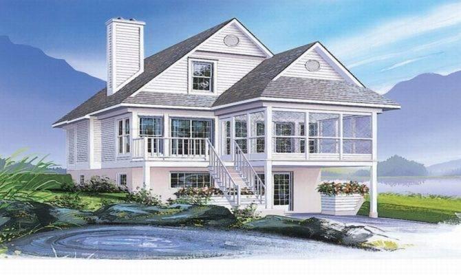 Coastal House Plans Narrow Lots Waterfront Home