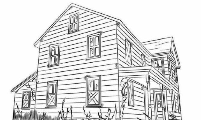 Colour Drawing Big House Coloring