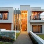 Concrete Modern House Exterior Balcony Feature Lighting