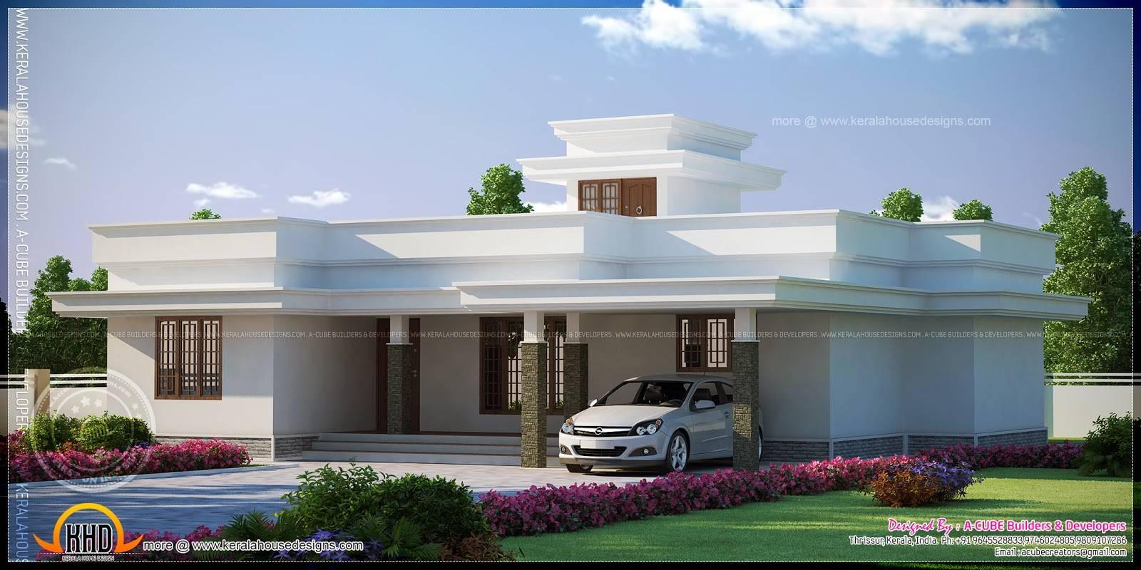 Contemporary Flat Roof Single Storied House Model Kerala Home Design Home Plans Blueprints 59406