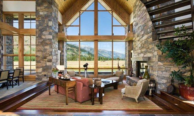 Contemporary Great Room Stone Fireplace