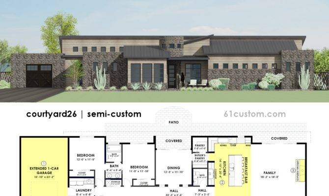 Contemporary Side Courtyard House Plan Custom