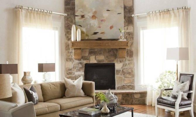 Corner Fireplace Transitional Living Room Alice Lane