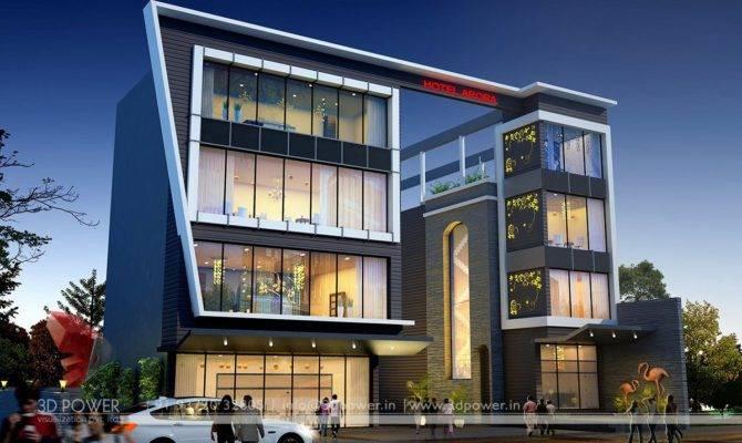 Corporate Building Design Rendering Exclusive Night
