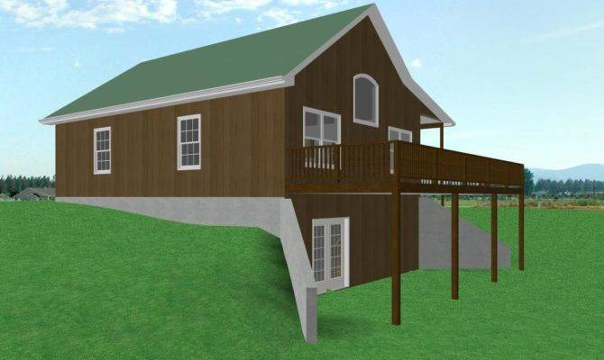 Country Cabin House Plan Walkout Basement