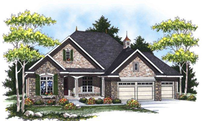 Country French Ranch Home Plan Architectural