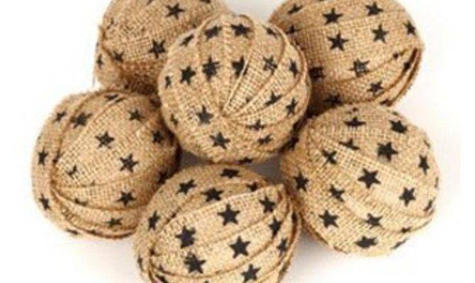 Country House Collection Large Star Burlap Rag Ball Asst