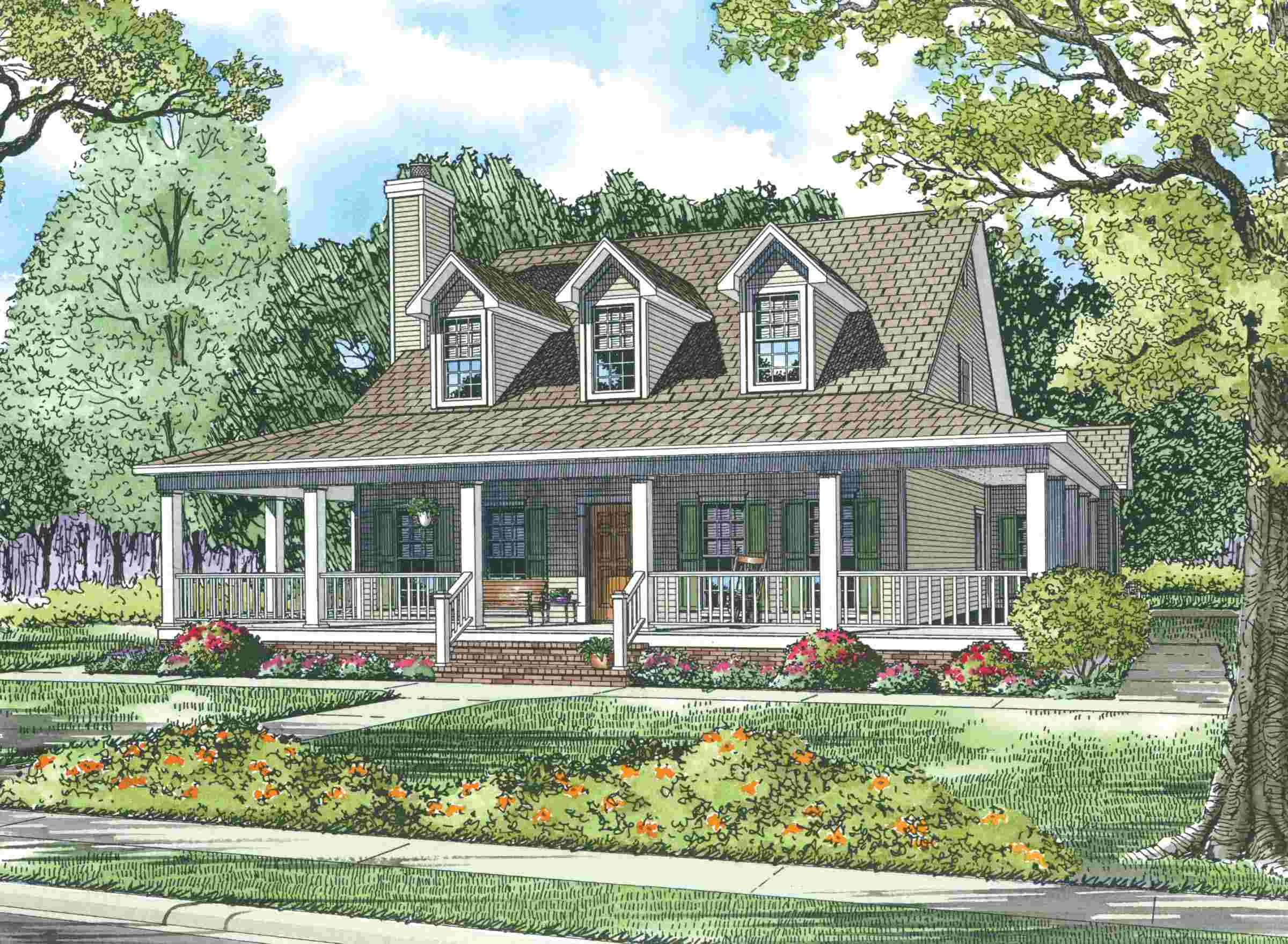 Country House Plans Wrap Around Porch Home Plans Blueprints 41618