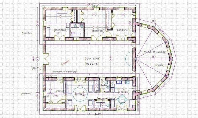 Courtyard House Home Floor Plan Plans Distinctive