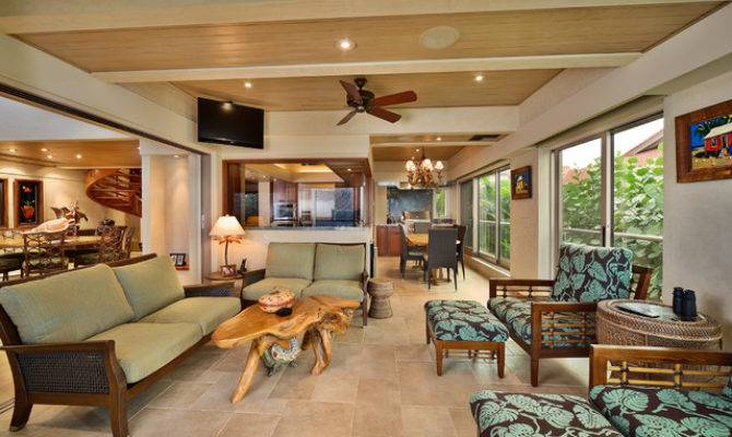 Covered Lanai Tropical Living Room Hawaii