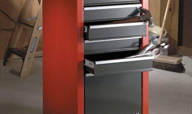 Craftsman Drawer Quiet Glide Side Chest Red Black