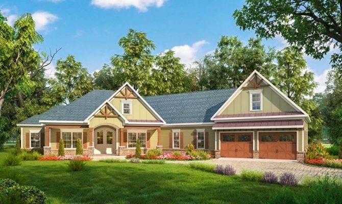 Craftsman House Plan Angled Garage