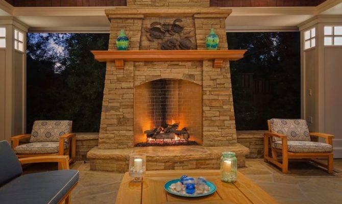 Craftsman Style Fireplace Lodge Pinterest