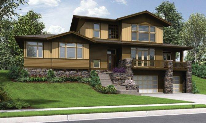 Craftsman Styled Sloped Lot House Plan Renicker