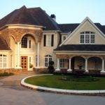 Cream Wall Front Yard Designs Two Story Homes White Pole Can