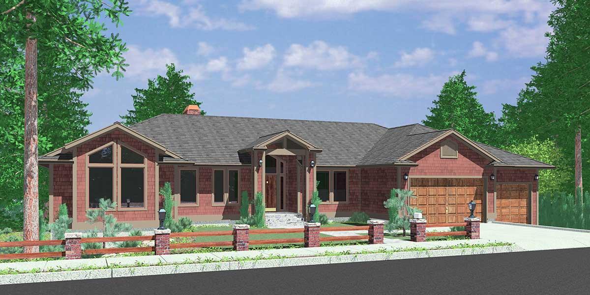 Custom Ranch House Plan Daylight Basement Garage