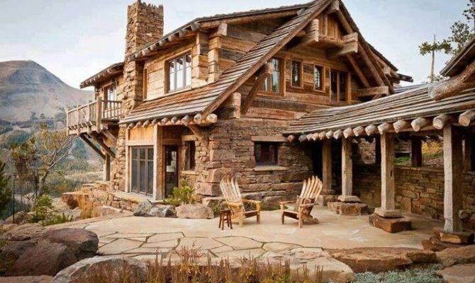 Cut Stone Wood Cabin Amazing Homes Pinterest Cabins