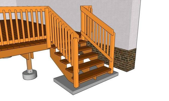 Deck Stair Railing Plans Building Frame Garden Bridge