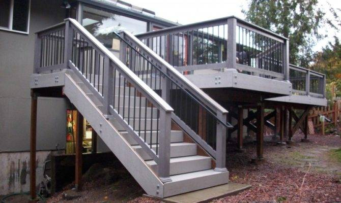 Deck Stairs Landing Design Ideas