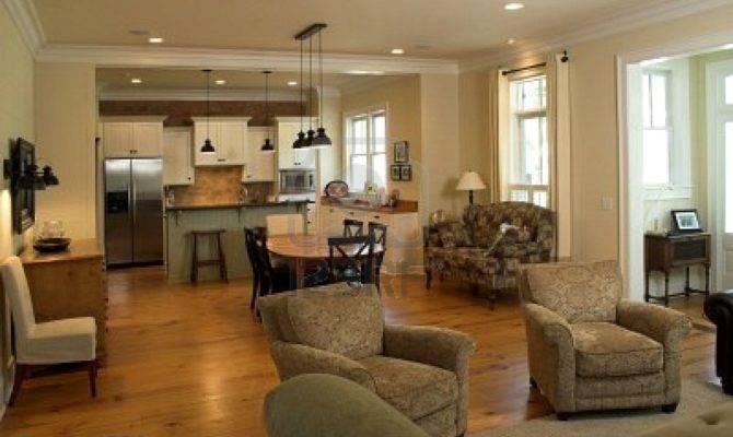 Decorated Livingroom Kitchen Open Floorplan