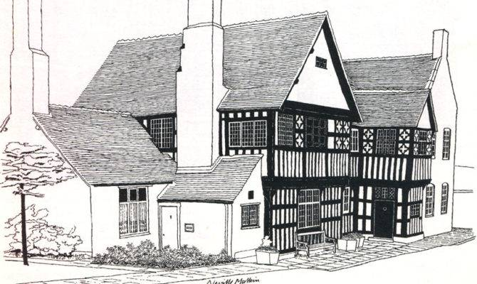 Decorative Tudor House Drawing Home Building Plans