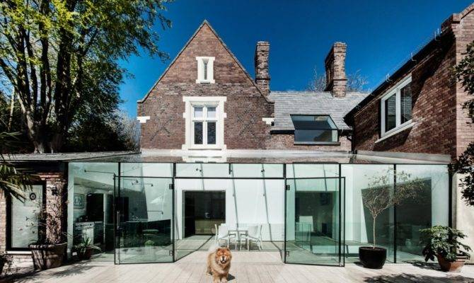 Delightful Traditional House Modern Glass Extension Design