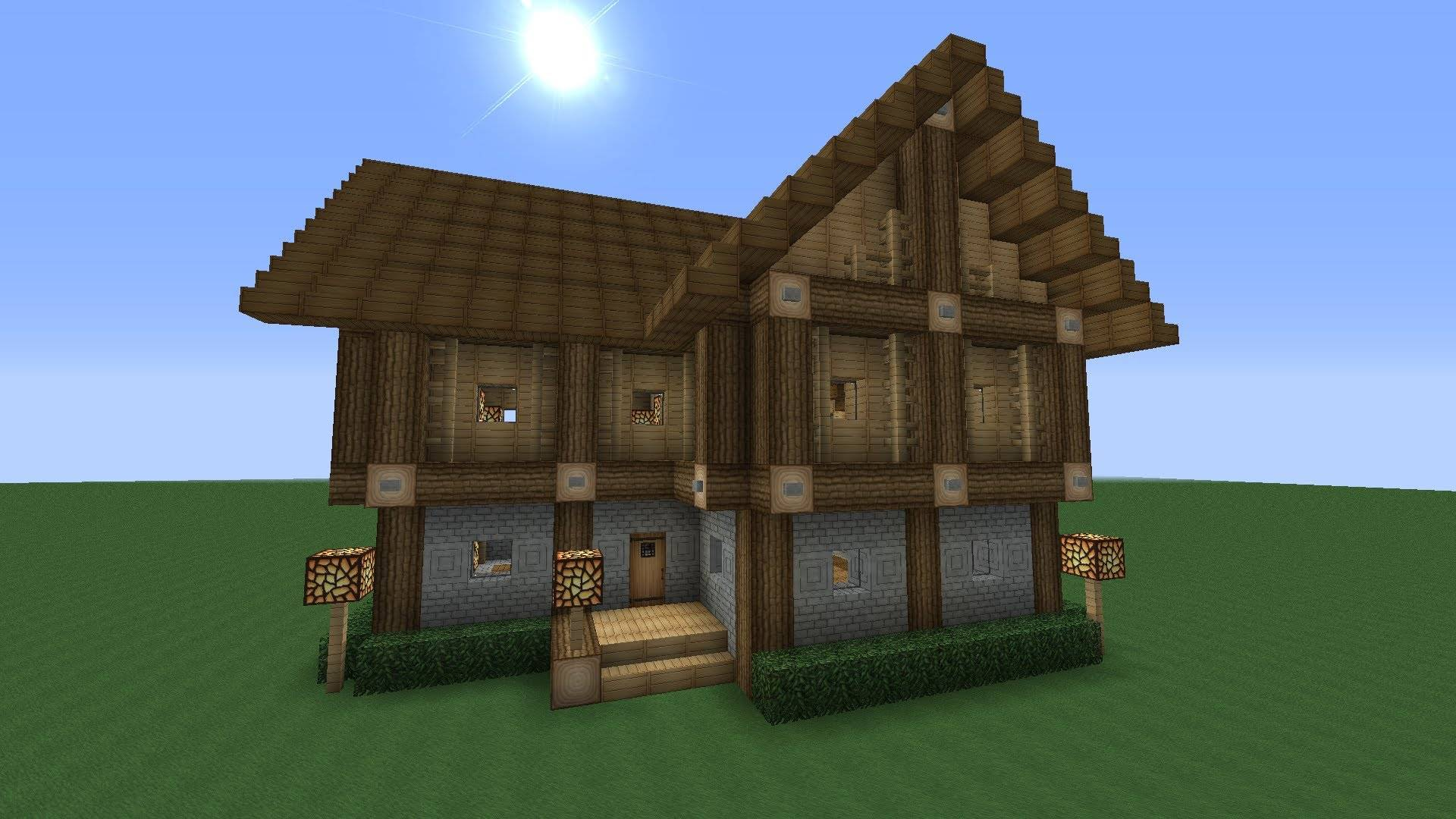 Detailed Advanced Story Wooden House Minecraft Tutorial Youtube