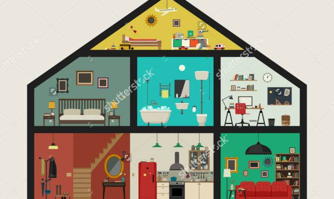 Different Rooms House Clipart
