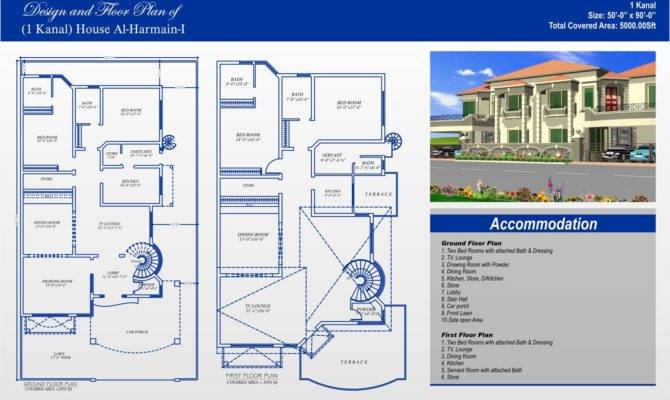 Double Storey Kanal House Plan Ground Floor First