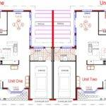 Duplex House Plans Bedroom Colonial Style