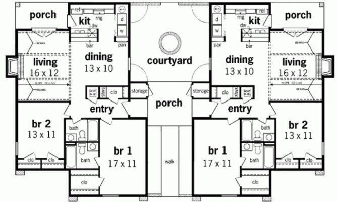 Duplex House Plans Bungalow Simplicity