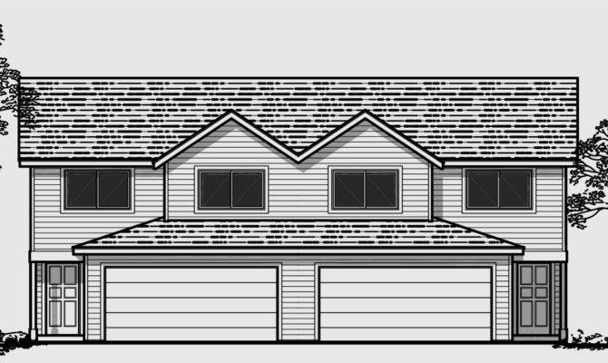 Duplex House Plans Car Garage