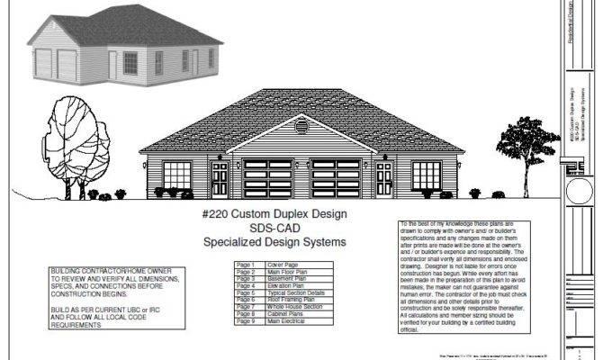 Duplex Plans Blueprints Construction Documents House Plan