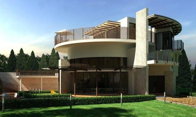 Elegant Modern House Design Green Garden Round Style