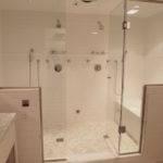 Elegant Walk Shower Two Marble Mosaic Tiles Floor