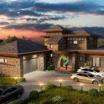 Elevation Contemporary Prairie Style Ranch House Plan